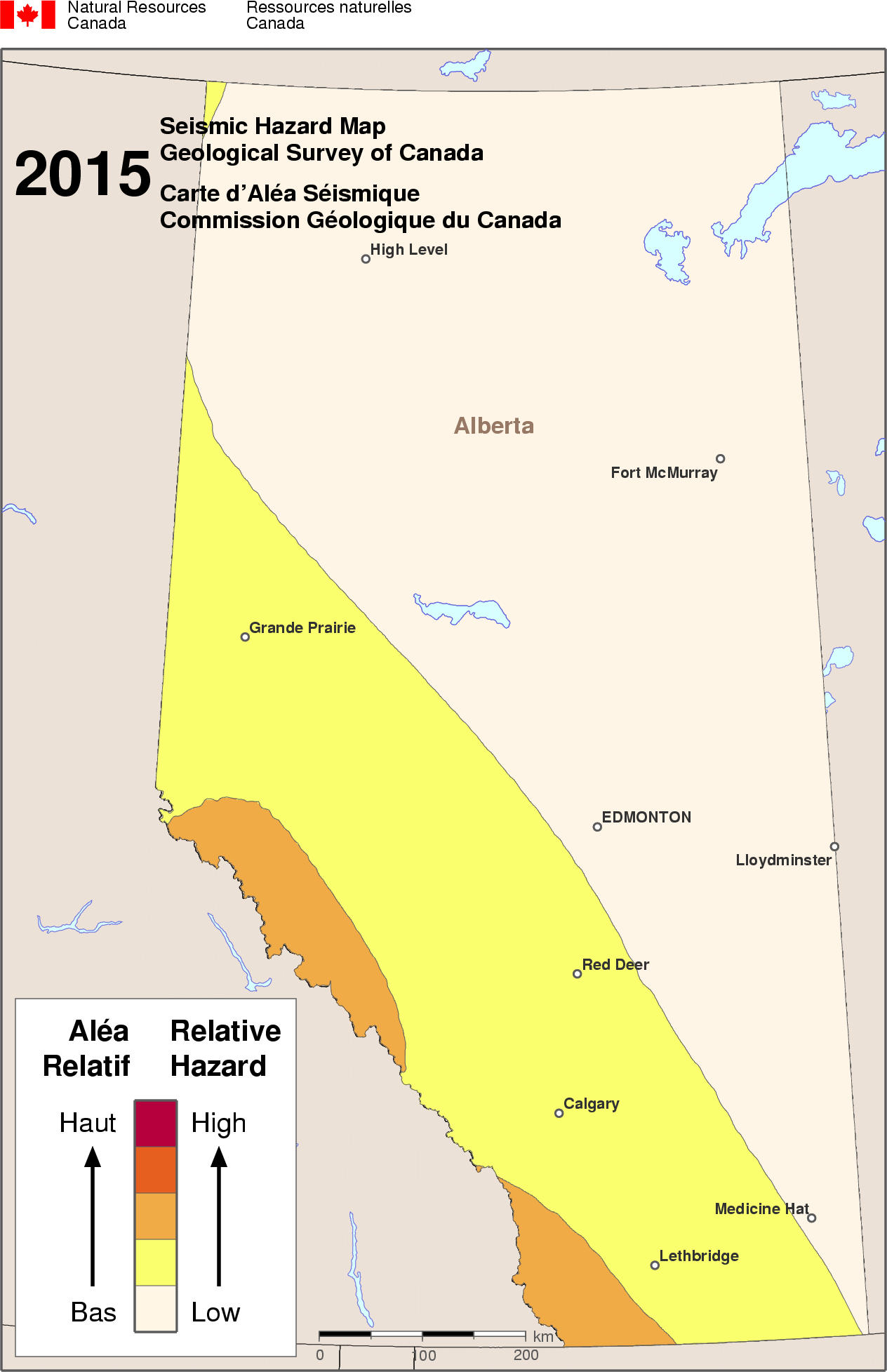 Western Canada Earthquake Map Simplified seismic hazard map for Canada, the provinces and