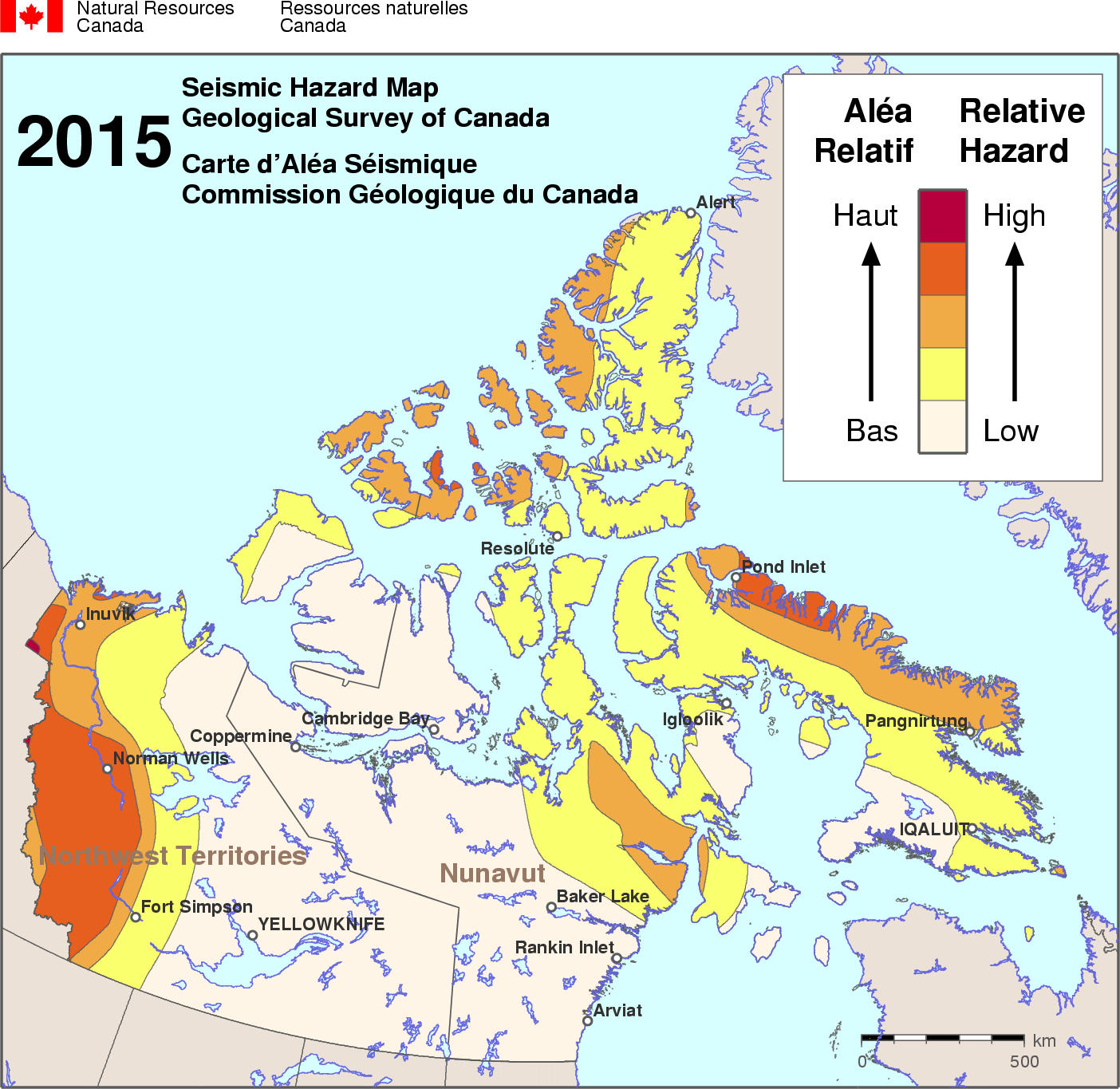 Canada Natural Disaster Map Simplified seismic hazard map for Canada, the provinces and