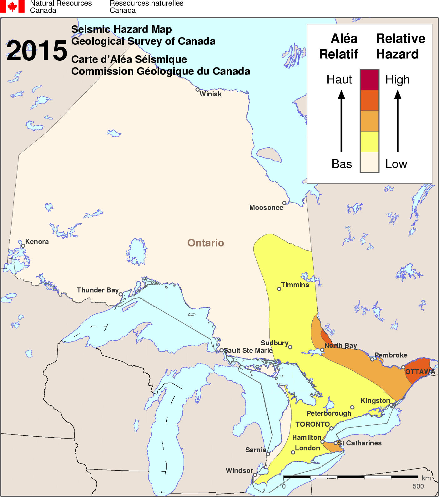Fault Lines Canada Map Simplified seismic hazard map for Canada, the provinces and