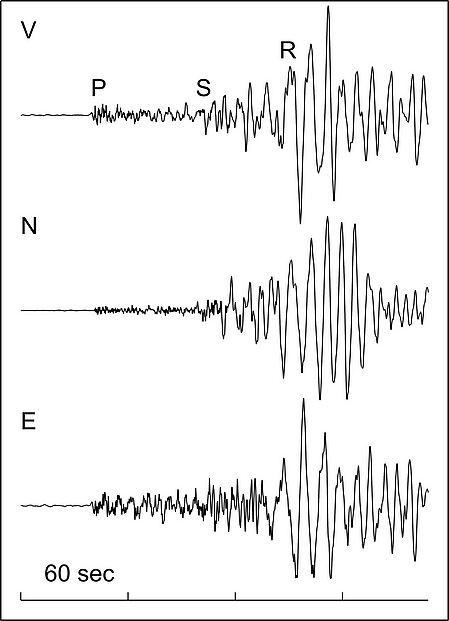 Seismic waves, vertical, north and east